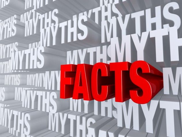 """A bold, red """"FACTS"""" dramatically pushes forward out of a light gray background of """"MYTHS"""""""
